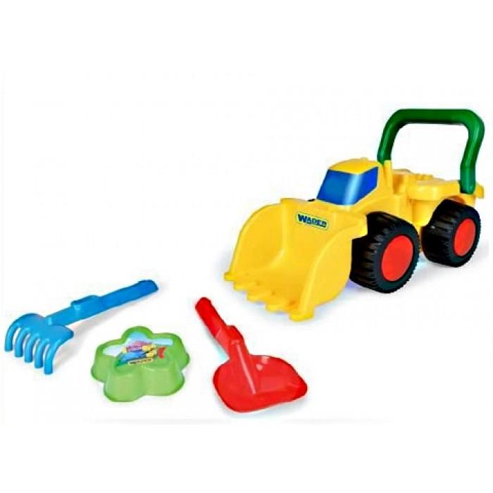 Бульдозер с игрушками для песка, пасочка, лопатка, грабельки