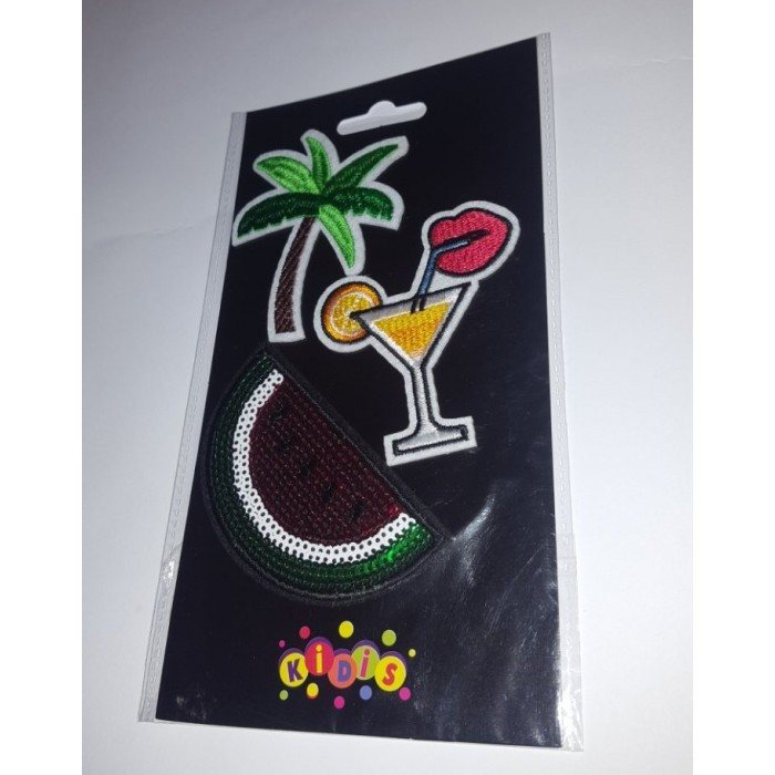 Наклейки-термо на текстиль «Арбуз и коктейль»