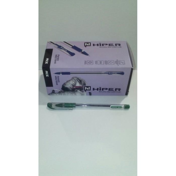 Ручка маслянная Hiper Ace, 0.7мм, зеленая,цена за уп. 50шт