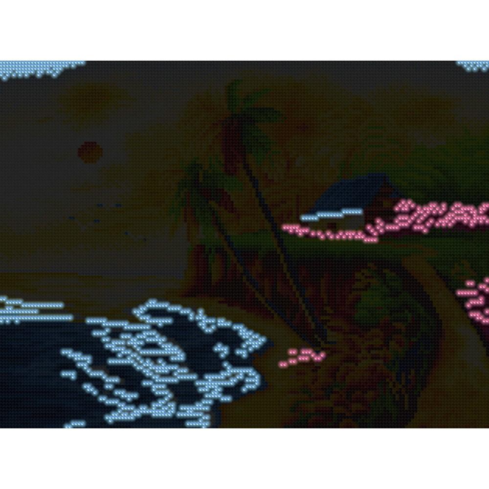 Алмазная мозаика неоновая «Домик у моря»30*40см