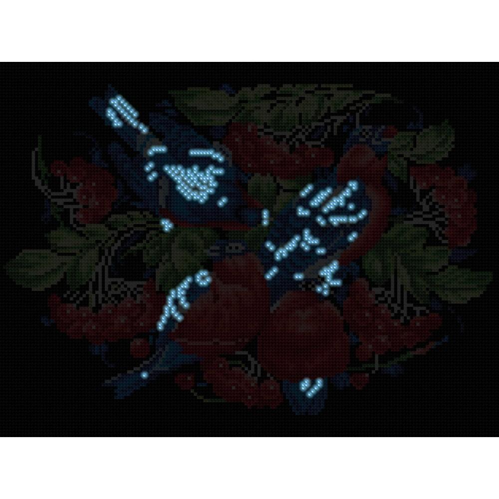 Алмазная мозаика неоновая «Снегири» 30*40см