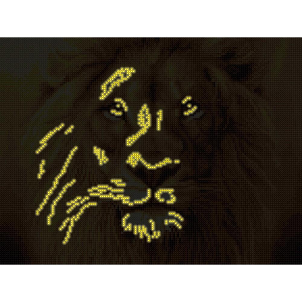 Алмазная мозаика неоновая «Мудрый лев»30*40см