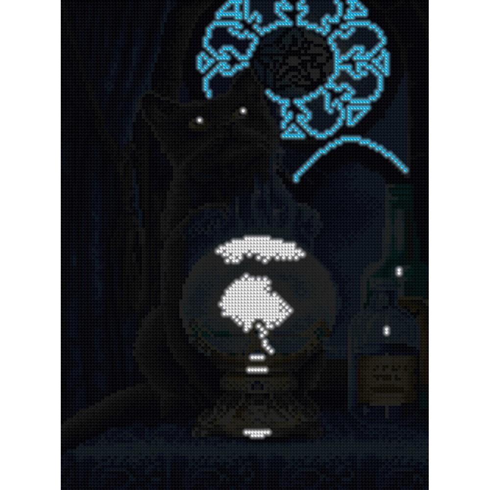 Алмазная мозаика неоновая «Кот-оракул» 30*40см