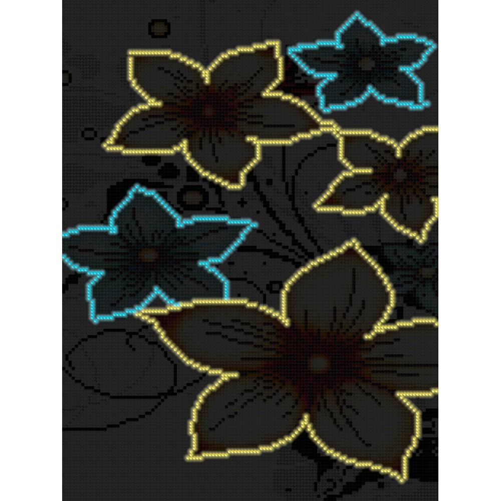 Алмазная мозаика неоновая «Нежные цветы» 30*40см