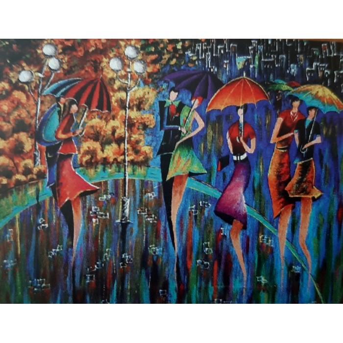 Алмазная мозаика неоновая «Яркие зонтики» 30*40см
