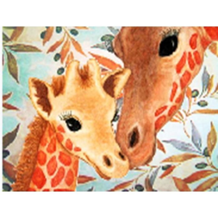 Алмазная мозаика неоновая «Жирафы» 30*40см