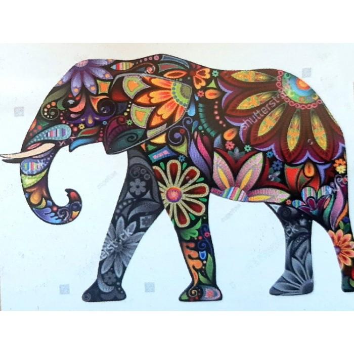 Алмазная мозаика неоновая «Цветочный слон» 30*40см