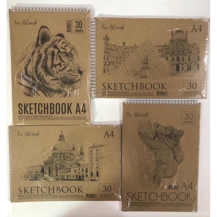 Блокнот для зарисовок «Скетчбук» А4 30 листов, обложка крафт