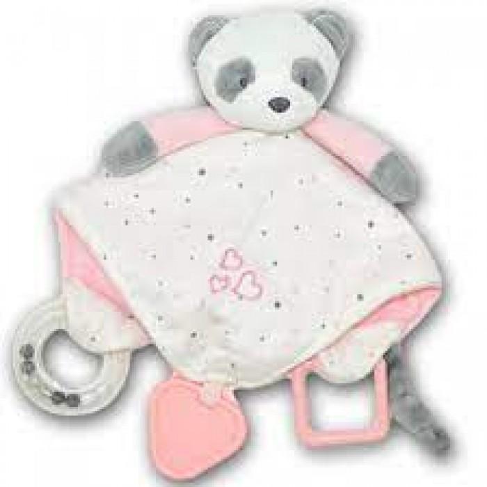 Игрушка-погремушка мягкая плюшевая «Панда», розовая
