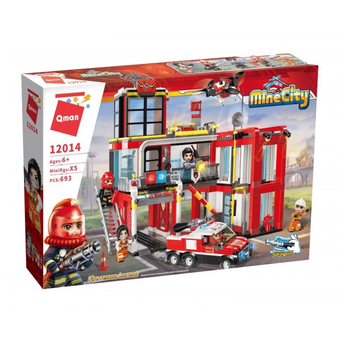Конструктор Qman пожарная станция, транспорт, фигурки 693дет