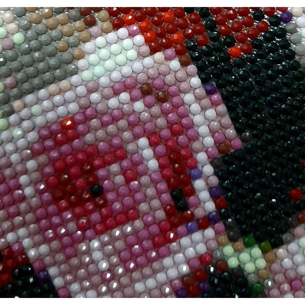Алмазная мозаика «Панда в веночке» 30*40см, с рамкой