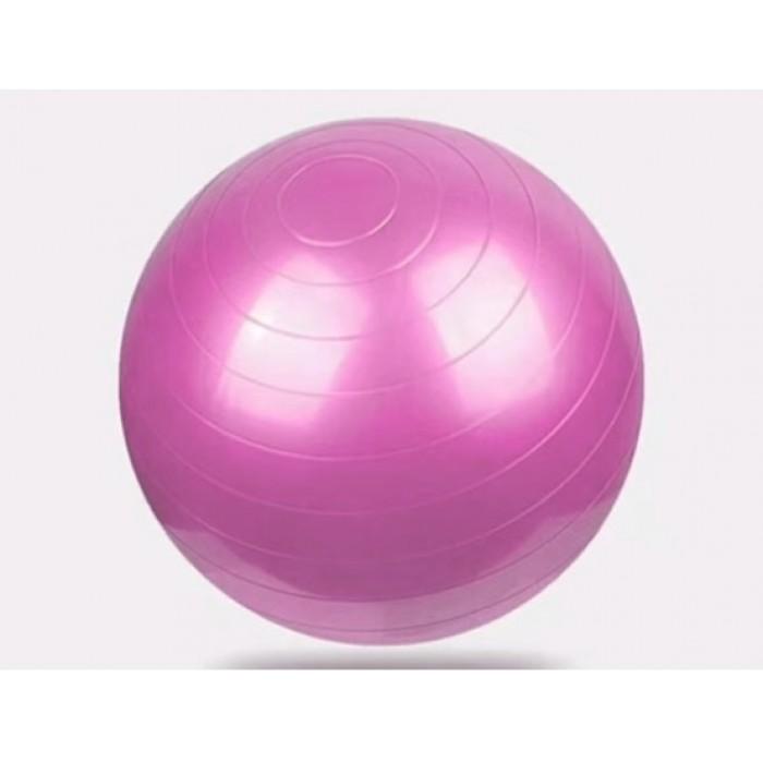 Мяч для фитнеса, йоги глянцевый 55см розовый