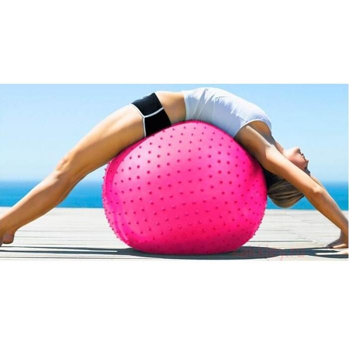 Массажный мяч для йоги, фитнеса 55см розовый
