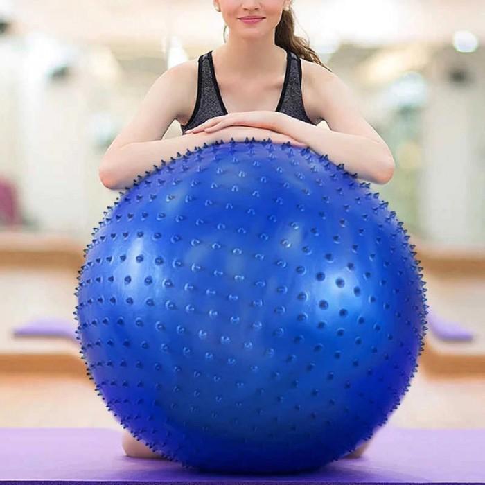 Массажный мяч для йоги, фитнеса 55см синий