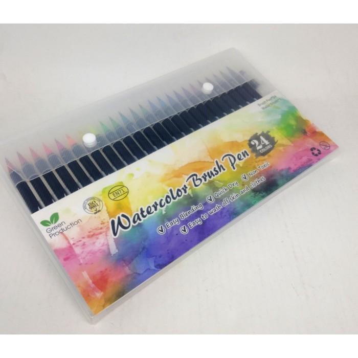 Фломастеры акварельные Water Color Brush 24шт+1шт