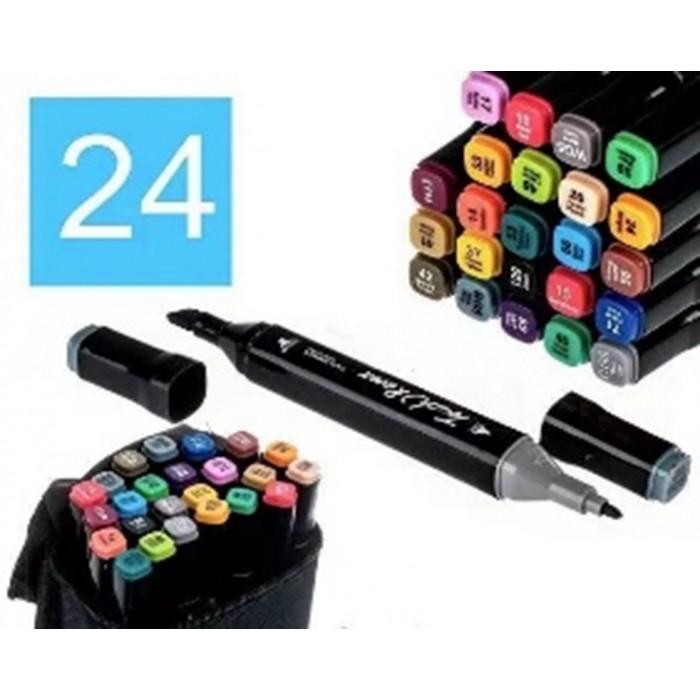 Набор скетч маркеров двухсторонних 24 цвета