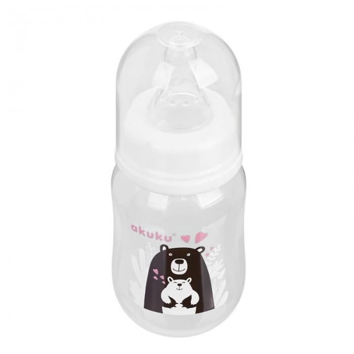 Бутылочка детская для кормления с рисунком, пластиковая 125м