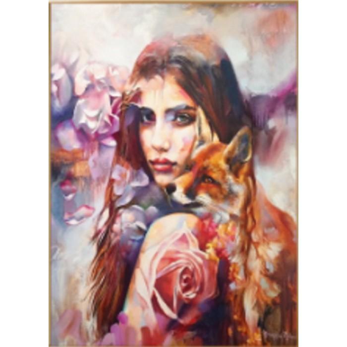 Алмазная мозаика «Девушка-лиса» 30*40см, с рамкой