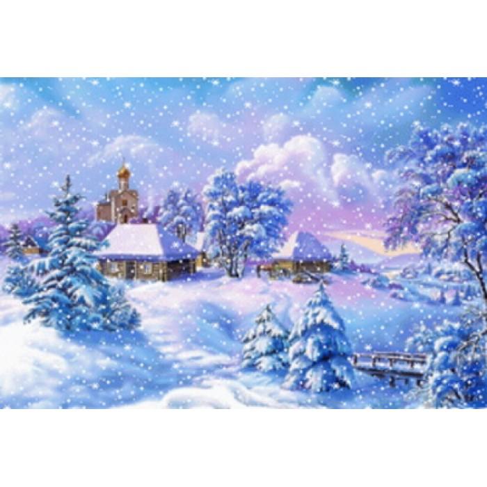 Алмазная мозаика «Снежная зима» 30*40см, с рамкой