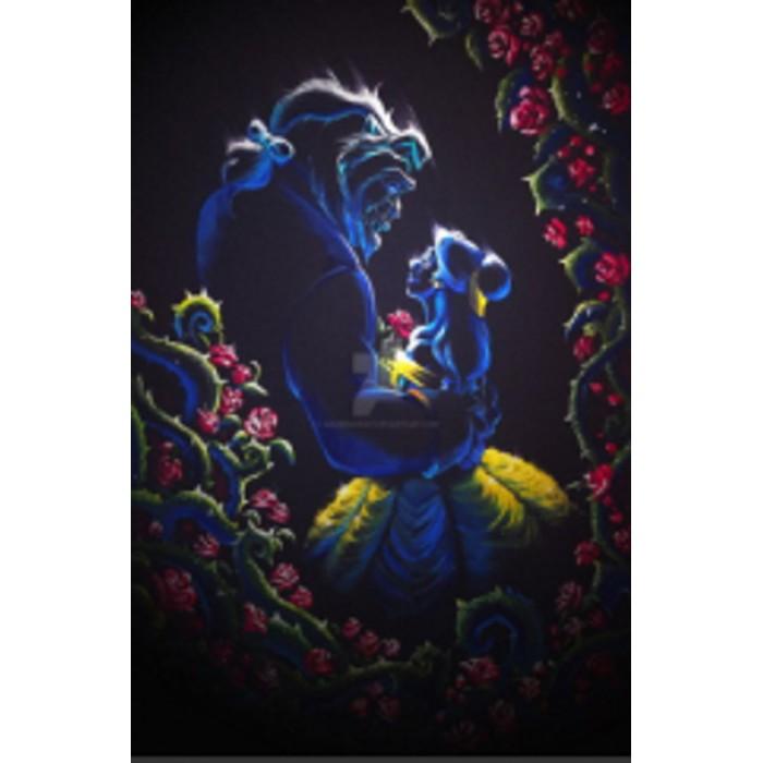 Алмазная мозаика «Красавица и чудовище» 30*40см, с рамкой