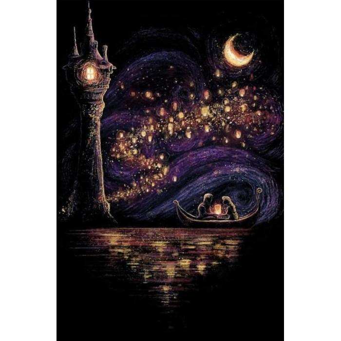 Алмазная мозаика «Сказочное свидание» 30*40см, с рамкой