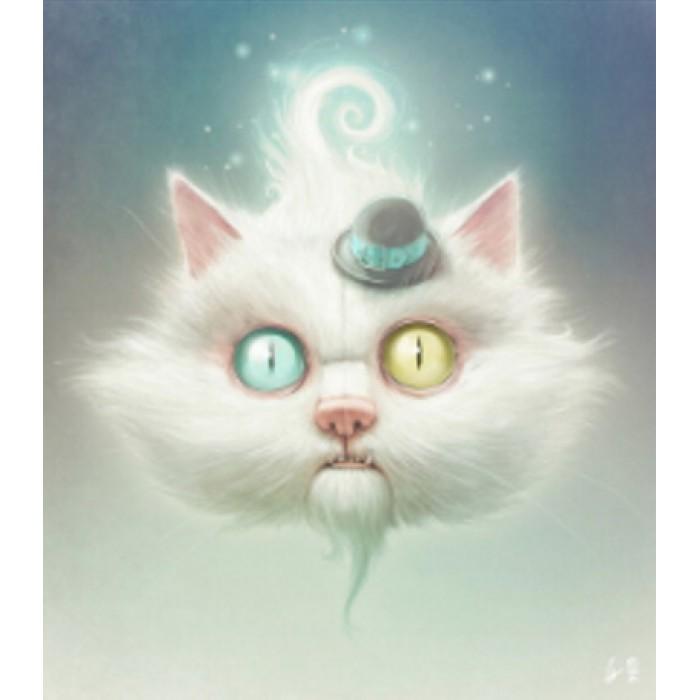 Алмазная мозаика «Кот в шляпе» 30*40см, с рамкой