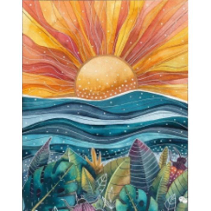 Алмазная мозаика «Оранжевое солнце» 30*40см, с рамкой