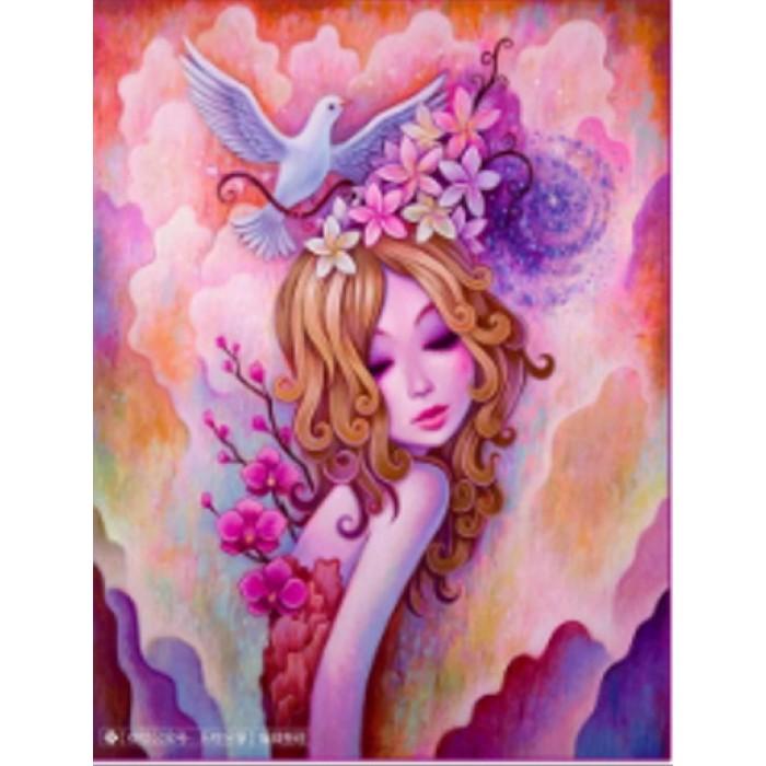 Алмазная мозаика «Девушка-весна» 30*40см, с рамкой