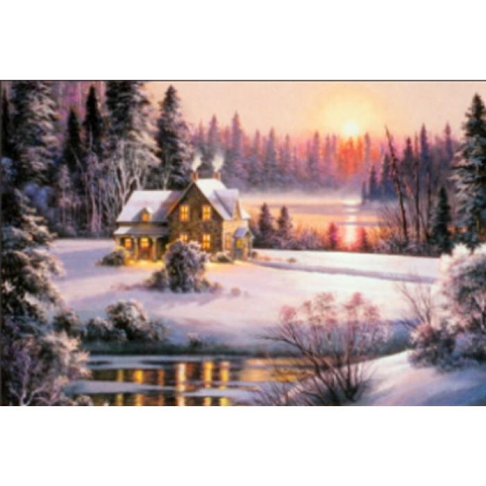 Алмазная мозаика «Усадьба в лесу» 30*40см, с рамкой