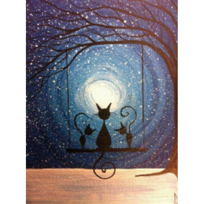 Алмазная мозаика «Лунные коты» 30*40см, с рамкой
