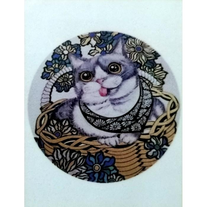 Алмазная мозаика «Кошка в корзинке» 30*40см, с рамкой