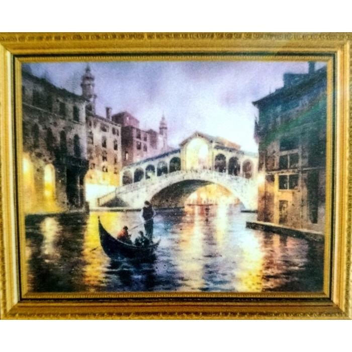Алмазна мозаїка «Вогні Венеції» 30 * 40см, з рамкою
