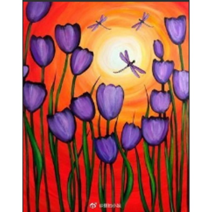 Алмазная мозаика «Фиолетовые тюльпаны» 30*40см, с рамкой