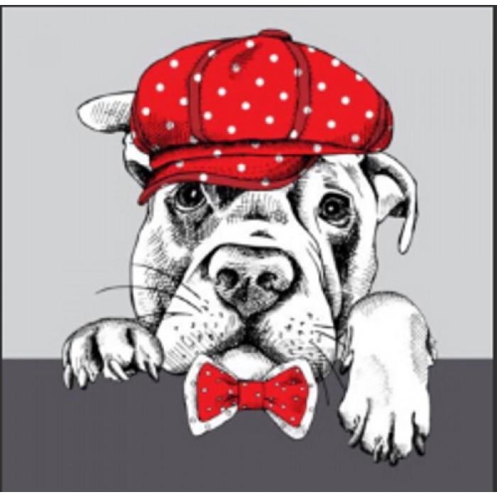 Алмазная мозаика «Пёс-джентельмен» 30*40см, с рамкой