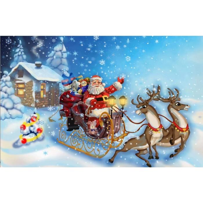 Алмазная мозаика «Санта с подарками» 30*40см, с рамкой