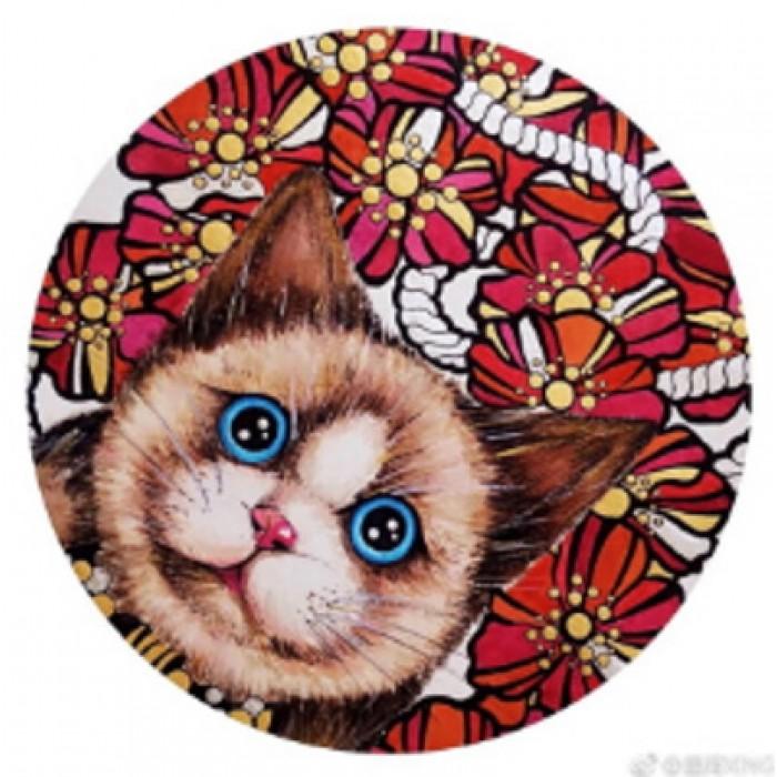 Алмазна мозаїка «Блакитноокий кіт» 30 * 40см, з рамкою