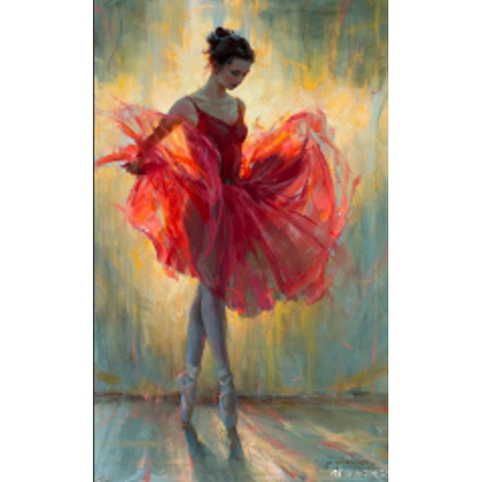 Алмазна мозаїка «Балерина в червоному» 30 * 40см, з рамкою