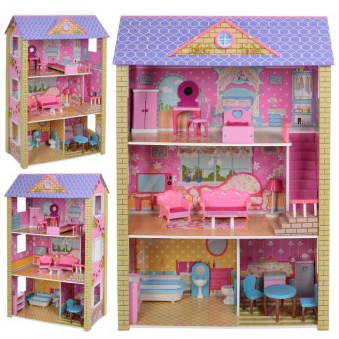 Домик деревянный для куклы, 118*78*36см, 3 этажа