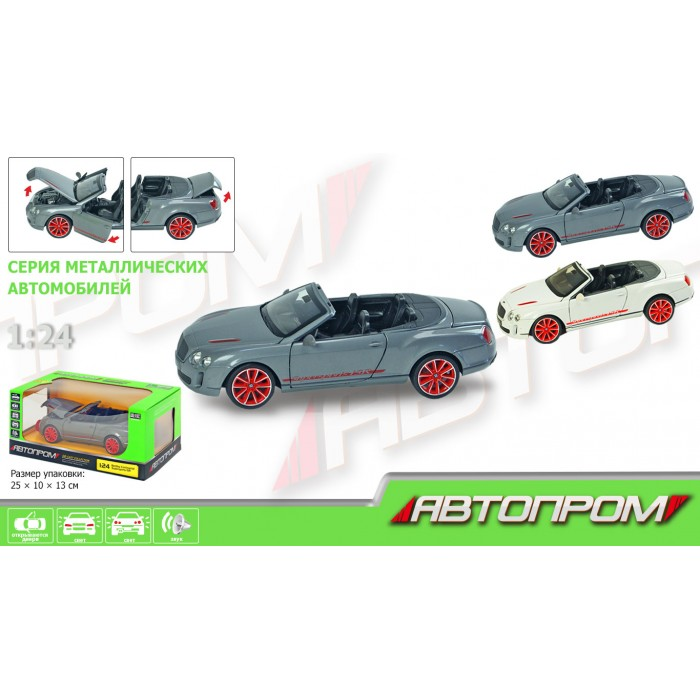 Машина «АВТОПРОМ», М1:24 Bentley, на батарейках