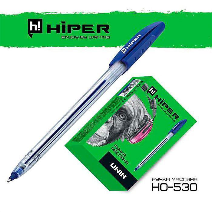 Ручка маслянная Hiper Unik, 0,7мм, синяя,цена за 50шт