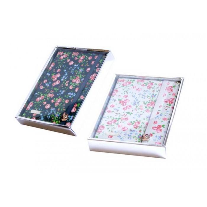Блокнот на резинке с декором «Цветы», 110 листов