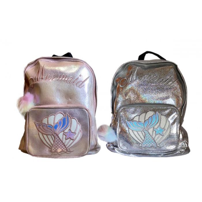 Рюкзак с блестками  с помпоном, розово-серебрянный