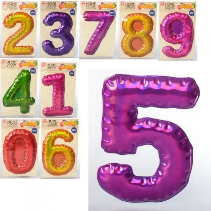Наклейки цифры 0-9 20см, микс цветов, на планш., в пак. 16*2