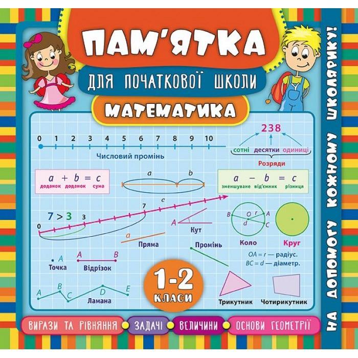 Книга «Пам'ятка для початкової школи.Математика. 1-2 класи»