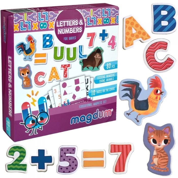 Набор магнитов Magdum «Буквы и цифры» 80шт+10 обуч. карточек