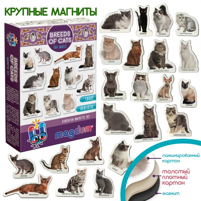Набор магнитов Magdum «Породы котов» 22 магнита