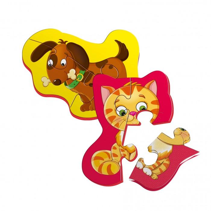 Беби пазлы магнитные «Котенок и щенок»