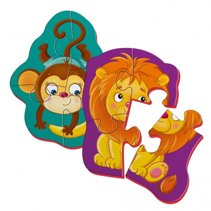 Беби пазлы магнитные «Львенок и обезьянка»