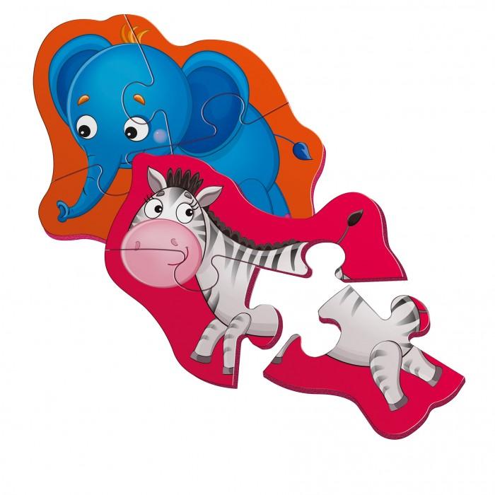 Беби пазлы магнитные «Слоник и зебрик»