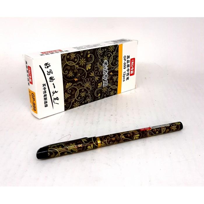 Ручка гелевая GP-702 черная, ЦЕНА ЗА УП.12ШТ